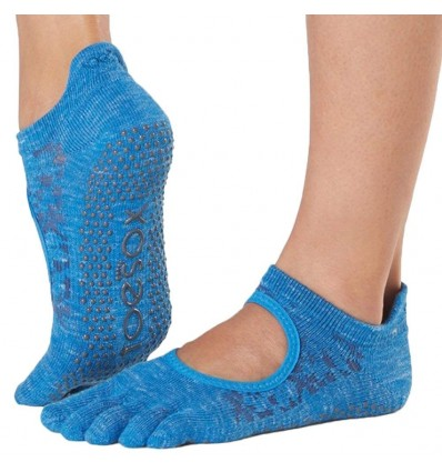 Toesox Grip Pilates Barre Socks-Non-Slip Bellarina Full Toe Yoga & Ballet Calcetines, Mujer, Lapis, Medium