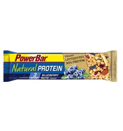 PowerBar Natural Protein Vegan - Preparados fitness - Blueberry Nuts 24 x 40g amarillo/azul 2017